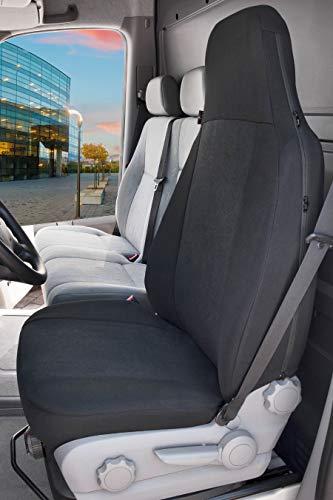Walser Transportersitzbezug Highback, Universalsitzbezug für Einzelsitz vorne mit integrierter Kopfstütze, Autositzbezug Transporter anthrazit 10503