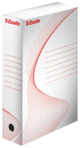 ESSELTE BOXY 80 scatola archivio - dim. 25 x 35 x 8 cm - Bianco/Rosso - 128003
