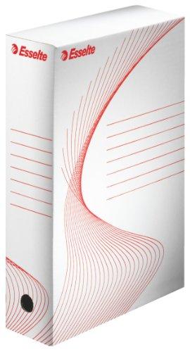 ESSELTE Boxy 80 Scatola Archivio - Dim. 25 x 35 x 8 cm, Per i Documenti F.to A4, Riciclabile al 100 %, Certificato FSC, Confezione da 10 Pezzi, Bianco - 128003