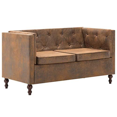 Festnight Chesterfield-Sofa 2-Sitzer | | 2er Polsterung Couch | Wohnzimmer Polstersofa | Vintage Loungesofa | Braun Stoffpolsterung Wildlederoptik mit Holzrahmen | 124 x 68 x 70 cm