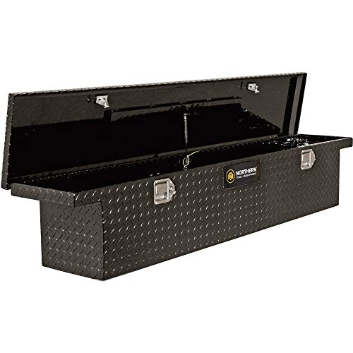 Northern Tool Slim Low Profile Crossover Truck Tool Box - Aluminum, Gloss Black, Paddle Latches, 69in. x 12in. x 13in, Model# 36212712