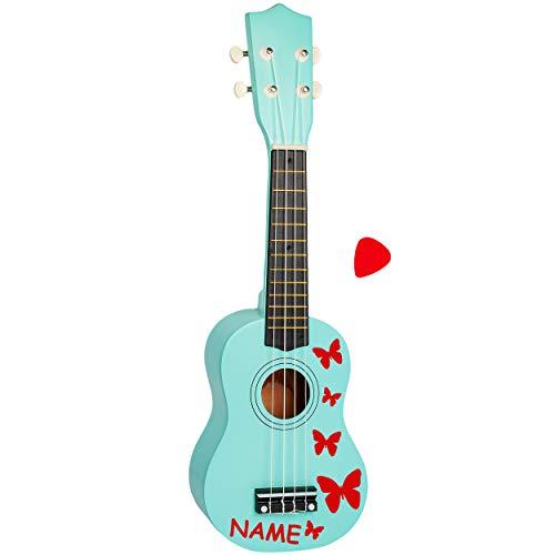 alles-meine.de GmbH Kinder - Gitarre / Ukulele - aus Holz - Motiv & Farbwahl - türkis blau & Schmetterlinge rot - inkl. Name - hochwertige Konzertgitarre - 55 cm - Klassik - akus..