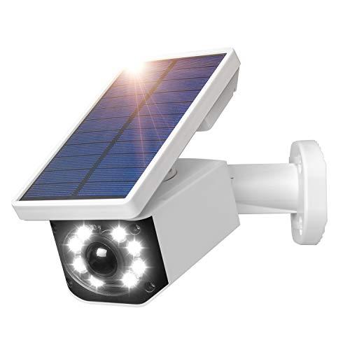 Attrappe Caméra de surveillance solaire à énergie solaire IP66 étanche pour extérieur avec détecteur de mouvement, lampe solaire LED pour jardin garage