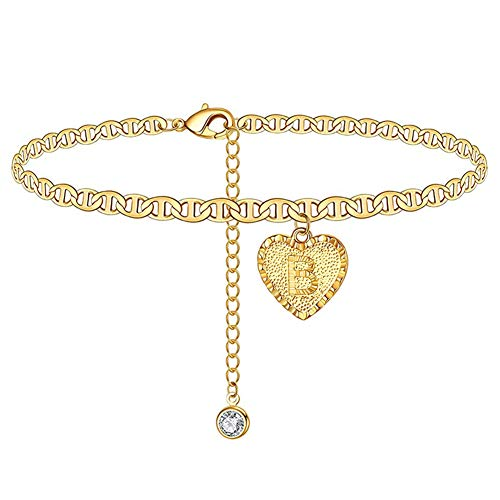 koueja101 Foot Chain Anklet for Women and Girls A to Z Capital Letter Engraved Love Heart Pendant Rhinestone Anklet Foot Chain B
