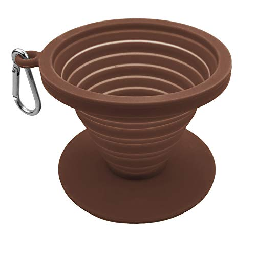 Collapsible Coffee Dripper Pour Over Coffee Filter, Coffee Maker,Paperless BPA Free Silicone Coffee Filter with Lid Seal,Dishwasher Safe,Carabiner for Hiking, Backpacking,Camping and Outdoor Survival