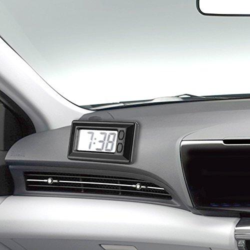 AUNMAS Orologio Digitale LCD per cruscotto per Auto Scrivania Regolabile Ultra Sottile elettronico Universale Data e Ora Calendario Tascabile Display con Cuscinetto Adesivo