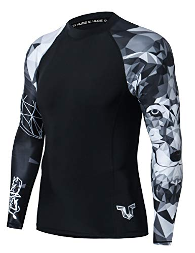 ADOREISM Men's Long Sleeve Rash GuardCompression Quick-Dry Lightweight UPF 50+ Swimsuit Swim Shirt Athletic Gym MMA BJJ Rashguard for Men(Wolf,XL)