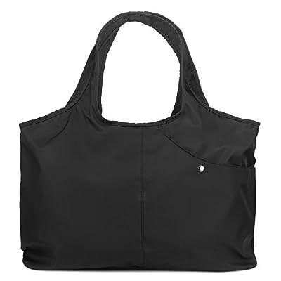 ZOOEASS Women Fashion Large Tote Shoulder Handbag Waterproof Tote Bag Multi-function Nylon Travel Shoulder (New Black)