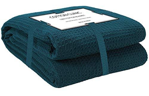 Katoenen-Kliniek Knuffeldeken 100% katoen 230x230 cm, zachte warme pluizige woondeken/reisdeken/knuffeldeken, sprei deken omkeerbaar Dubbele bank over bed stoel, groen