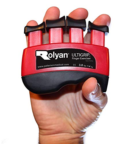 Rolyan - 42036 Ultigrip Finger Exercisers, Red, 3-Pounds, Finger & Grip Strengthener for Physical Therapy, Ergonomic Hand Workout Aid, Portable Hand Exerciser for Home, Clinic, Rehabilitation