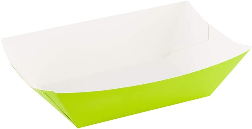 Bio Tek 3.3 Inch Food Boats, 400 Disposable Paper Food Trays - Heavy-Duty, Grease-Resistant, Green Paper Nacho Boats, For Fries, Popcorn, Or Tacos, Use At Parties, Fairs, Or Picnics - Restaurantware