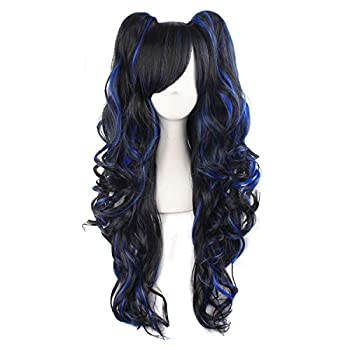 MapofBeauty Multi-color Lolita Long Curly Clip on Ponytails Cosplay Wig  Black/Blue