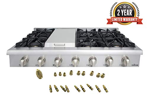 Thor Kitchen 48' Stainless Steel Gas Rangetop Cover Gas Stove Top Cooker Cooktops with with 6 Sealed Burners and 7 Control Knob - HRT4806U (With LP Conversion Kit)