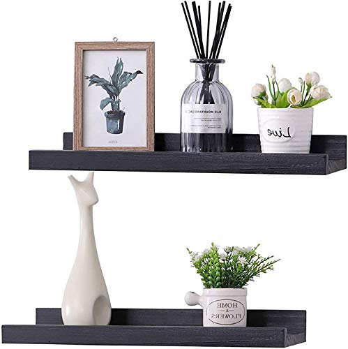 KLGO 16 Inch Wall Mounted Floating Shelves Set of 2,Hanging Wall Shelves Decoration,Rustic Wall Mounted Picture Frames Ledge Shelf for Bathroom, Bedroom, Living Room and Kitchen,Black