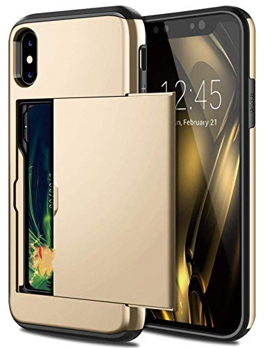 Casos de teléfono de negocios para iPhone X Xs Max Xr caso Slide Armor Wallet ranuras para tarjetas titular cubierta para iPhone 7 8 Plus 6 6S 5 5S SE, para iPhone 8 Plus, oro
