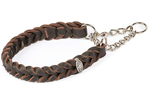 CopcoPet - Fettleder Halsband geflochten mit Zugstop Kette, Braun 35-40 cm x 20 mm Hunde Halsband