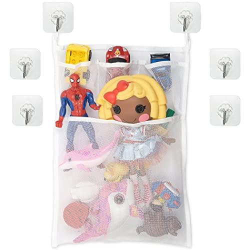 Badewannen Spielzeug Aufbewahrungsnetz, 1 Set, Organizer mit 6 x Klebehaken, aus Polyester, zur Trocknung von Spielzeug, Netz zum Aufhängen, Spielzeugnetz Badewanne, Badewannenspielzeug Aufbewahrung