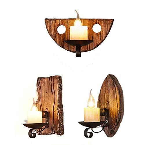 E14 Vintage Wandleuchte Retro Kerzen Form Wandleuchte Holz Eisen Lampe Schwarz Klassisch Leuchte Aus Holz-lampe Deckenleuchte Wandbeleuchtung für Treppen Flur Aisle Loft Bar Schlafzimmer (B)