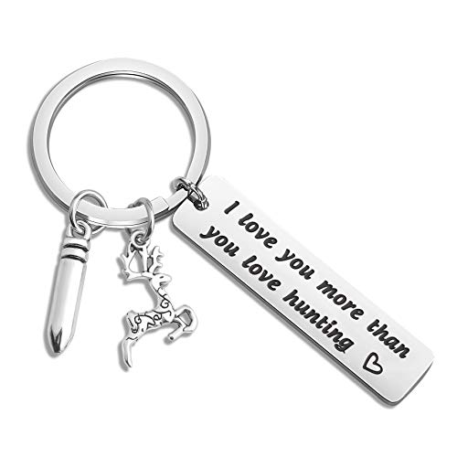 WUSUANED Deer Hunter Gift I Love You More Than You Love Hunting Keychain Hunting Gift for Husband Boyfriend (i Love You More Than You Love Hunting Keychain)