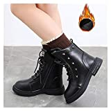 WanXingY Niños Martin Boots PU Leather Style British Sports's Sports Shoes Boys and Girls Soft Sole Botas de Moda Cortas (Color : Negro, Size : 28 (Insole 17.0CM))