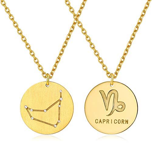 ChicSilver Plata de Ley 925 Chapado en Platino/Oro Collares para Mujer Colgantes Doble Cara 12 Constelaciones Signos Astrológicos Zodiacos