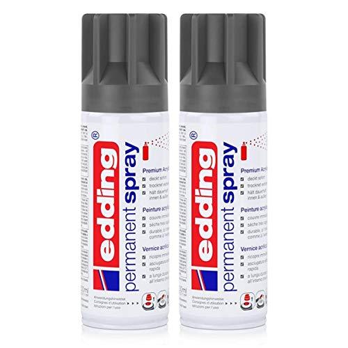 edding Permanent Spray Premium-Acryllack anthrazit 200ml – seidenmatt – Sprühlack deckt sofort, trocknet extrem schnell und hält dauerhaft innen & außen, für Glas, Metall, Holz uvm. (2er Pack)