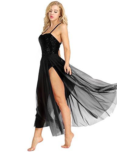 iiniim Damen Ballettkleid Ballett Trikot Body Ballettanzug Gymnastik Turnanzug Tanzkleid mit Chiffon Maxi Rock XS-XL Schwarz L