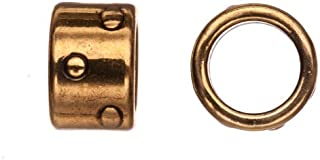 10pcs Braided Licorice leather bead, antique gold-plated, zik zak dots patterned circlet tube slider beads