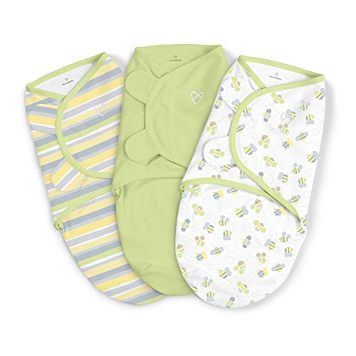 SwaddleMe Original Swaddle – Size Small/Medium, 0-3 Months, 3-Pack (Busy Bees)