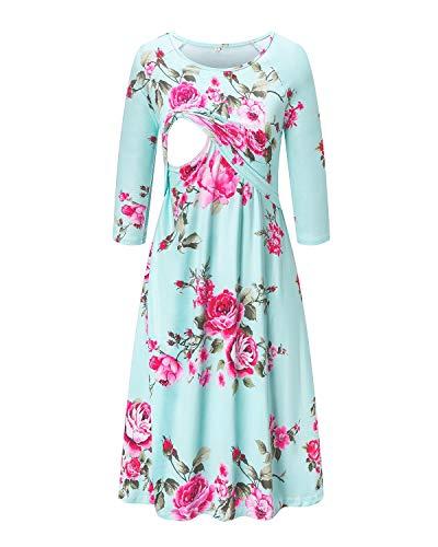 Liu & Qu Womens Maternity Nursing Dress Floral Raglan Sleeve Postpartum Dress for Breastfeeding