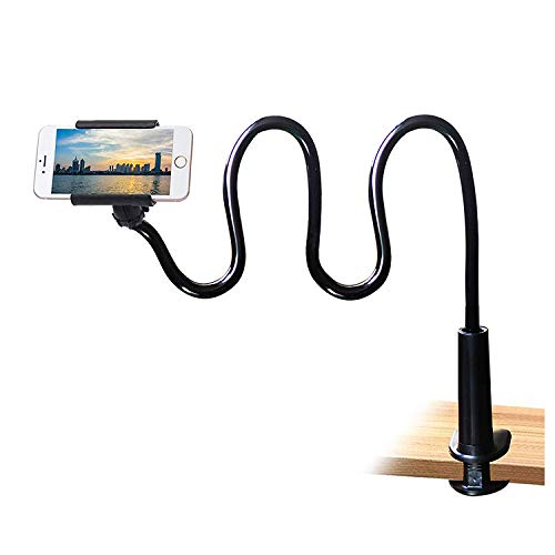 Cell Phone Clip on Stand Holder - with Grip Flexible Long Arm Gooseneck Bracket Mount Clamp for iPhone X/8/7/6/6s/5 Samsung S8/S7, used for bed, desktop, Black