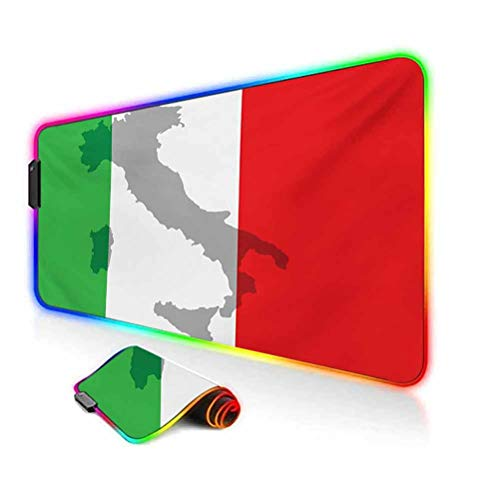 RGB Gaming Mouse Pad Mat,Map View of Italy Land Chart National Country Europe Ancient Culture Computer Keyboard Desk Mat,35.6'x15.7',for MacBook,PC,Laptop,Desk Grey Red Fern Green
