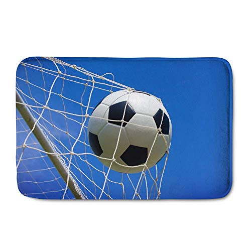 Sports Ball Doormat, Soccer in The Net with Blue Sky Entrance Way Indoor Outdoor Rug with Non Slip Backing Door Mat for Kitchen Living Room Home Decor Gift Blue