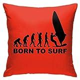 XCNGG Taie d'oreiller Maison Oreiller Housse de Coussin literie Throw Pillow Case, Born to Surf Pillow Cover, Decorative Pillowcase Square Cushion for Sofa Couch Car 18x18