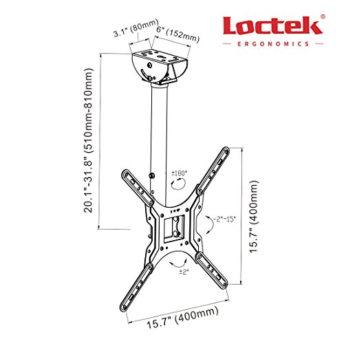 "Loctek CM1 Adjustable Tilting Wall Ceiling TV Mount Fits most 26-55"" LCD LED Plasma Monitor Flat Panel Screen Display"