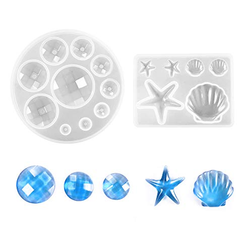 Daimay Jewelry Casting Molds Silicone Pendant Mold Resin Molds Jewelry Making DIY Craft Tools - Gem / Starfish / Shell