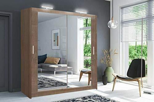Moderno armadio per camera da letto a 2 e 3 specchi completi Milano 6 misure e 4 colori (100 cm/120 cm/150 cm/180 cm/203 cm/250 cm) (bianco/nero/grigio/rovere) (quercia/sonoma, 100 cm)