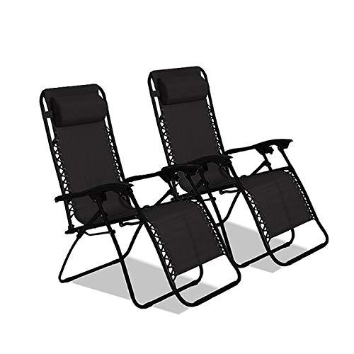 DREAMO Reclining Garden Sun Lounger Reclining Chair Portable Textilene Adjustable Zero Gravity Recliner Set of 2 - Black