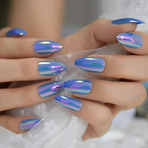 CLOAAE Blue Duo Chrome Designed Artificial Nail Simple Popular Fake Nail Full Cover Medium False Nail