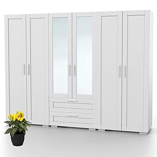 Bonamaison Haus Möbel, Spiegelschrank mit sechs Türen und Zwei Schubladen, Kleiderschrank, 18mm MDF, Weiß, 240x47x185 cm