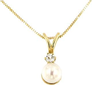 forme di Lucchetta per Donna - Collana con Perla Vera e Topazio Naturale - Oro Giallo 18 carati - Catenina 45cm - Made in ...