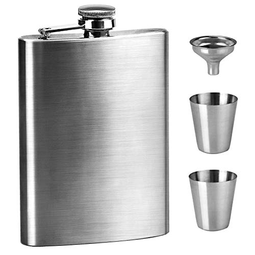 8oz Hip Flask Set Stainless Steel Pocket Whiskey Flask Flagon with 2 Small...