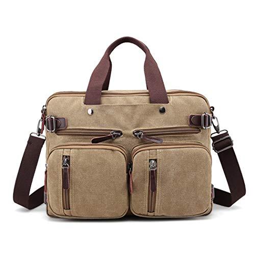 Neue Retro-Mode-Trend Canvas Tasche Schulter tragbare Männer Umhängetasche Multifunktions-Reisetasche,Khaki