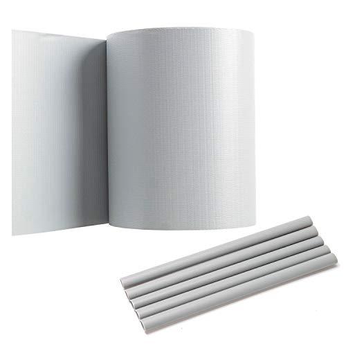 Hengda PVC Sichtschutzstreifen für Doppelstabmatten, 65 m x 19 cm mit 40 Clips, PVC Sichtschutzfolie für Zaun, Gartenzaun, Doppelstabmattenzaun, Sichtschutz, Grau, Beidseitiger Druck