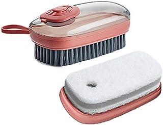 Brosse avec Réservoir Liquide Vaisselle avec une Éponge de Brosse de Nettoyage de Remplacement, Brosse à Paume de Distribu...