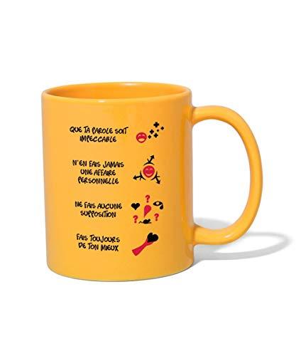 Les Quatre Accords Toltèques Tasse Mug, jaune soleil