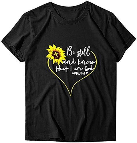 NOBRAND Novelty Camiseta de manga corta con diseño de girasol, con texto en inglés