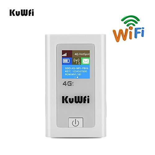 KuWFi Router Móvil 4G LTE, Desbloqueado 150Mbps 4G WiFi Router 3G 4G LTE inalámbrico Hotspot Mifi Dongle Car Wi-Fi Router con Ranura para Tarjeta SIM 5200MAh Power Bank