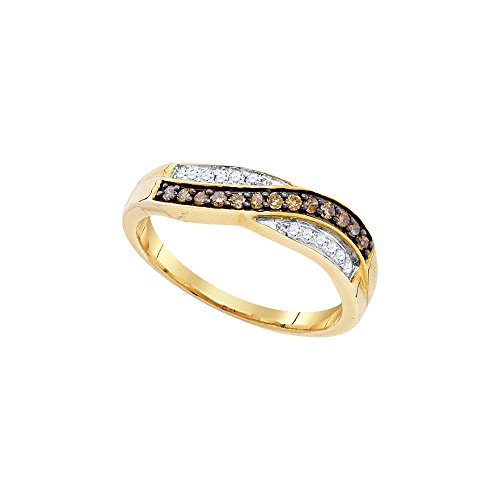 Sonia Jewels Size 8-10k Yellow Gold Round Chocolate Brown Diamond Band Ring (1/4 Cttw)