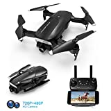 Foldable Drone with 720P HD Camera, FPV WiFi RC Quadcopter, 120° Wide-Angle, Altitude Hold, Voice Control, APP Control, One Key Return, Easy to Fly for Beginners Adults Boys Girls, 2 Batteries